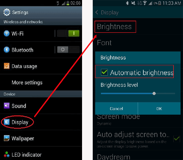 decrease brightness to increase battery life for android phone