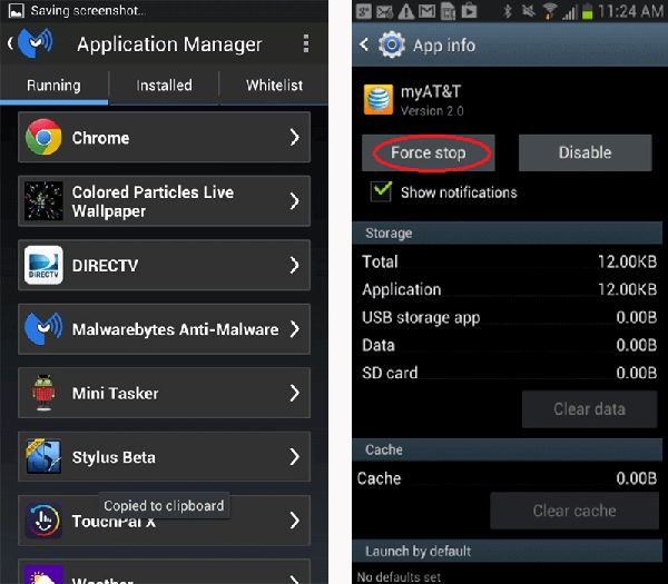 stop running applications to save battery power for android