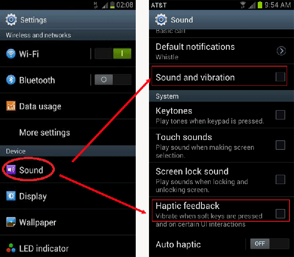 turn off vibration and haptic feedback to save battery power for andoid phone