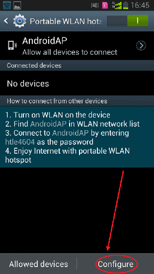 touch configure to set hotspot on samsung smartphone