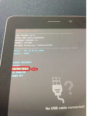 Factory reset Asus tablet when forgot password