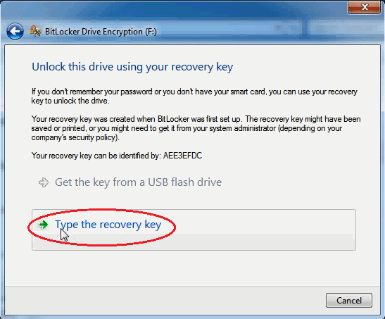 click on type the recovery key