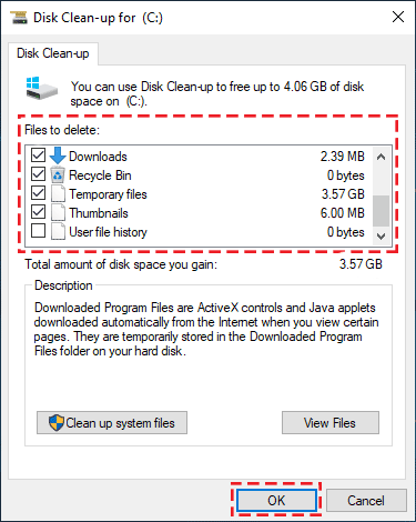 disk cleanup in Windows 10