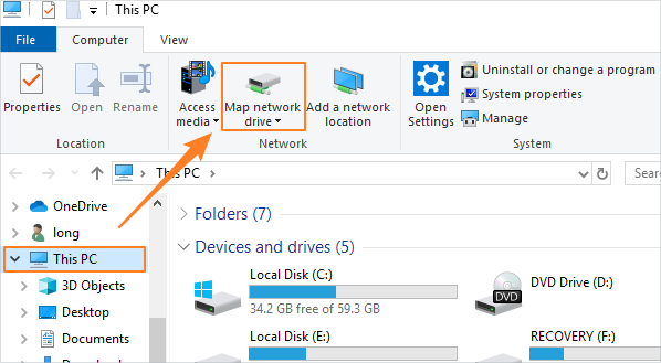 how to map a new network drive in windows 10  7