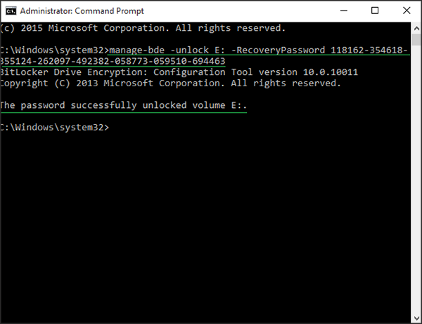 How to Unlock BitLocker Encrypted Drive from CMD with
