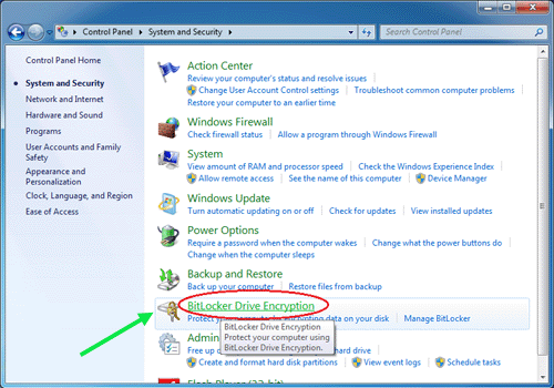click on bitlocker drive encryption