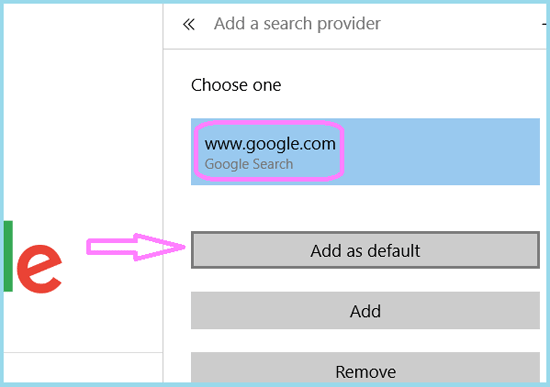 add google as default
