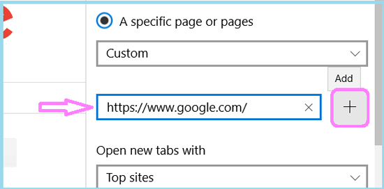set google as home page on microsoft edge