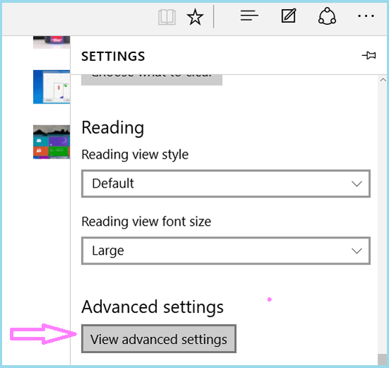 select view advanced settings