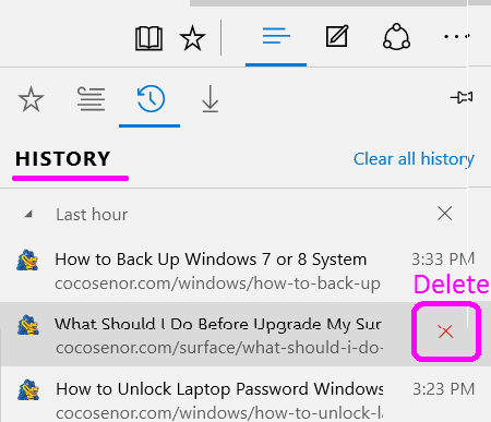 delete edge browsing history