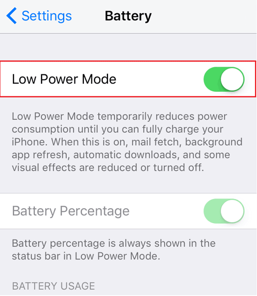 activate low power mode on iphone se