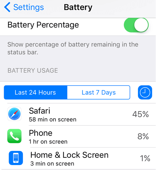 check iphone se battery usage
