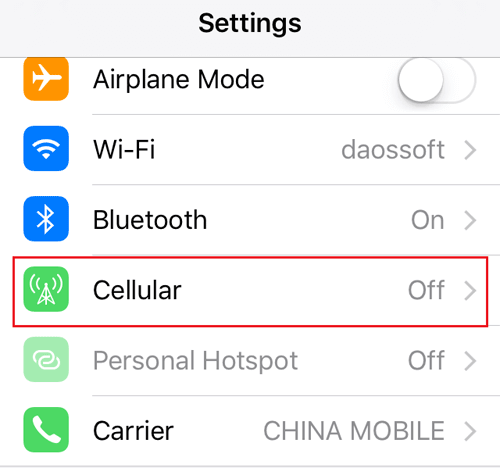 turn off iphone cellular data