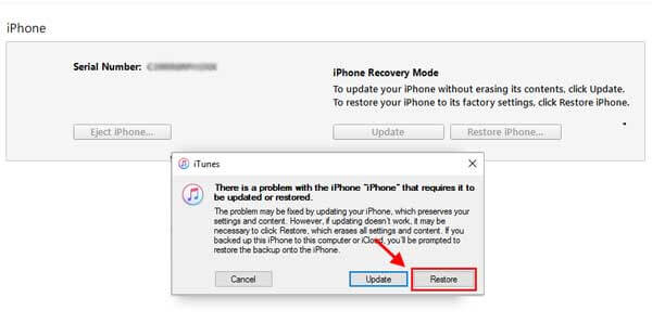 restore from recovey mode