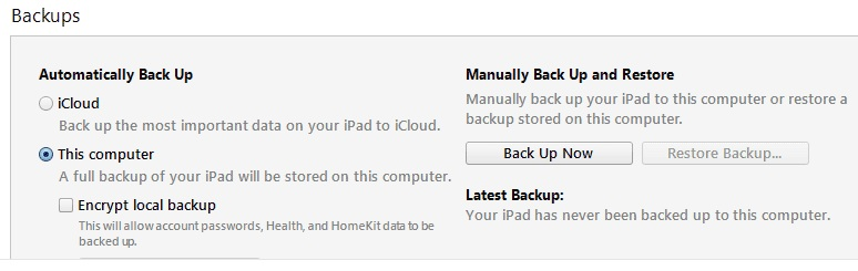 iTunes backup for iPad