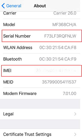 activation lock status serial number