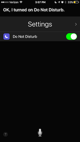ask Siri to turn on do not disturb