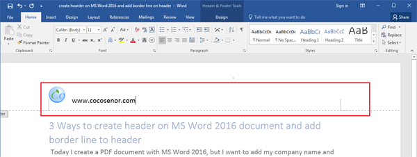 word how to add header