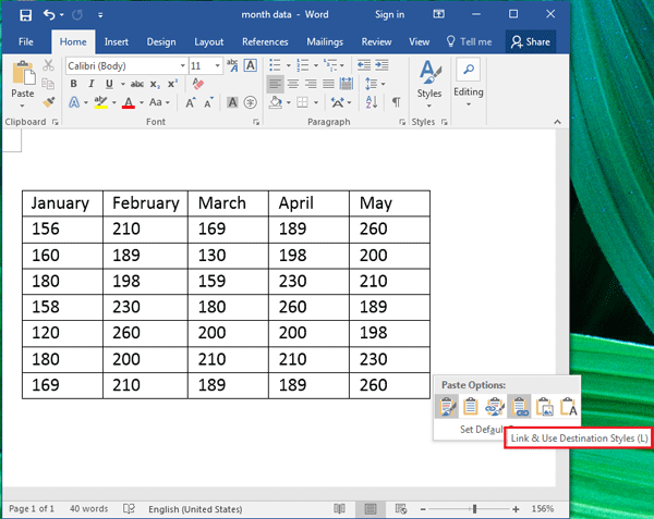 How to convert Excel to Word document or table in Office