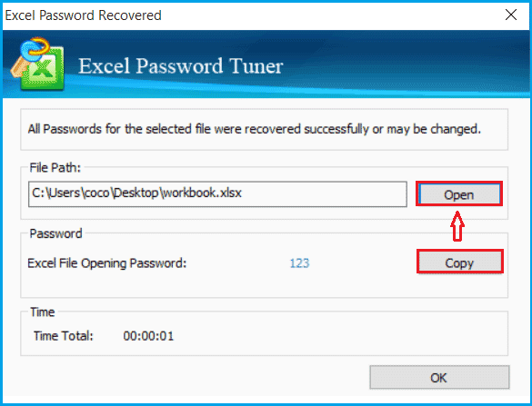 excel password is recovered