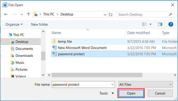how to save a word document with a password 2016