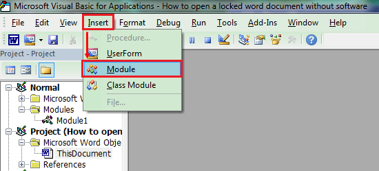 How to open a locked Word document free without software