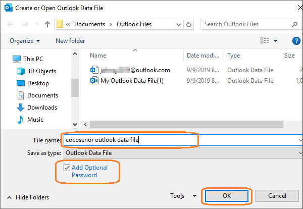 outlook data file name