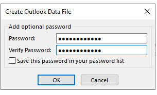 outlook data file password