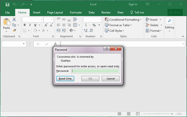 excel 2010 remove password for write access