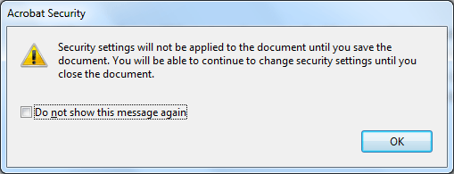 how to change security settings on pdf