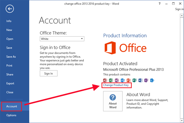 office 2013 cd key change