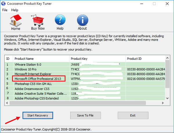 recover serial key office 2013