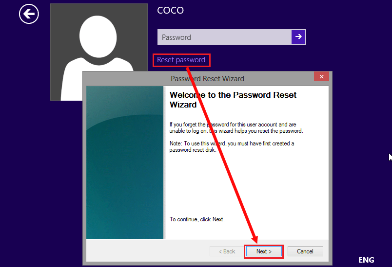 surface pro password reset disk