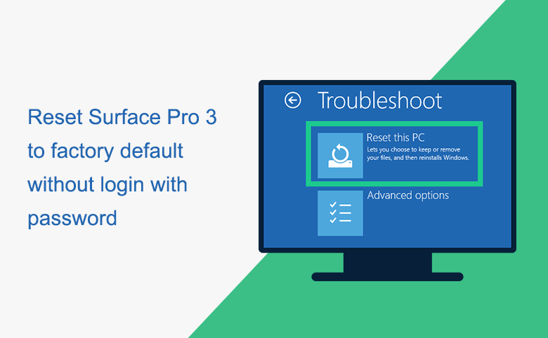 Reset Surface Pro 3 to factory default without login with