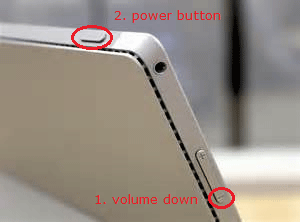 volume down and power button