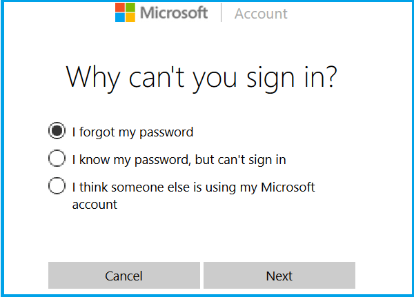 select I forgot my password