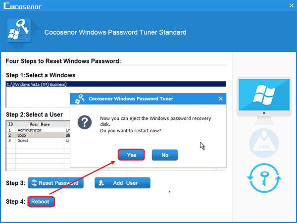 reset admin password vista without disk