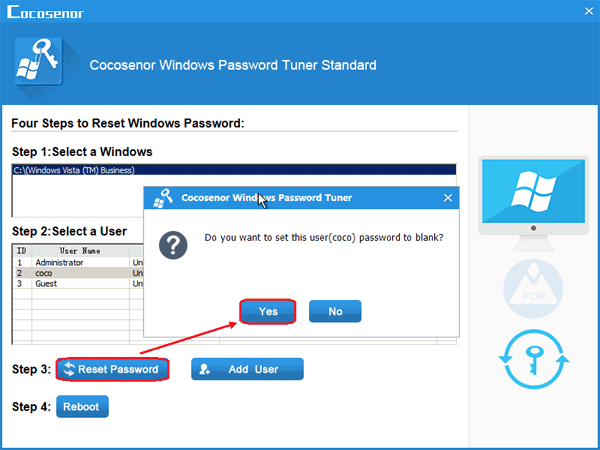 how to reset vista password with usb