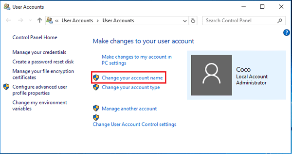 windows 10 home local admin account