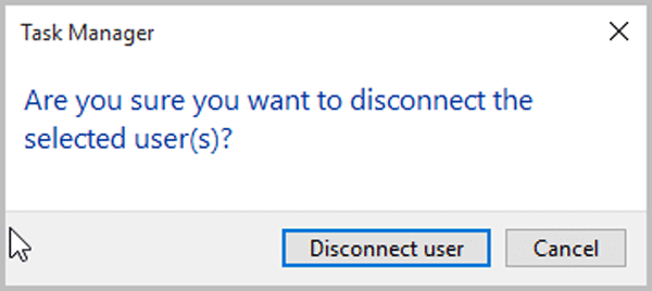 click on disconnect user to comfirm