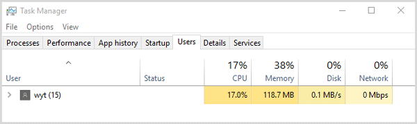 click users in the task manager