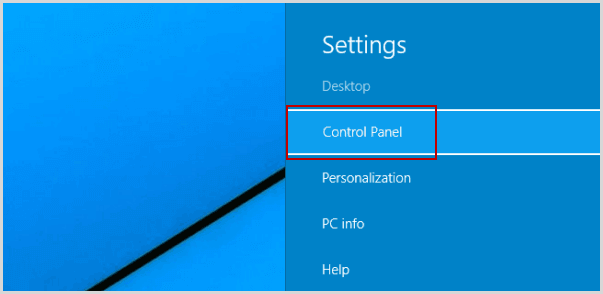 go to control panel through the setting panel