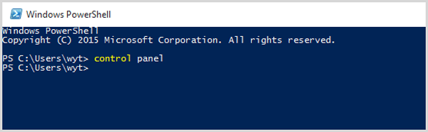 input control panel in the windows powershell