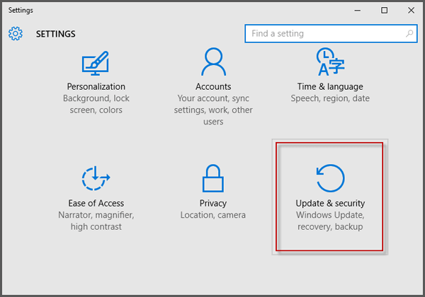 select update and security on settings panel