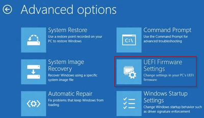 successfully change pc settings to access uefi bios in windows 10