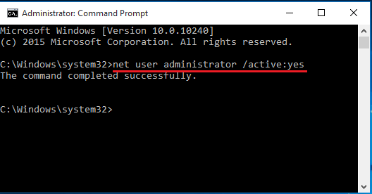 activate administrator account