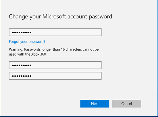 microsoft forgot password xbox 360
