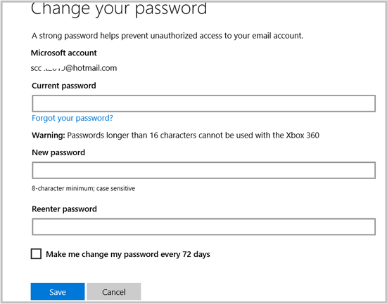 load and go how to change your password