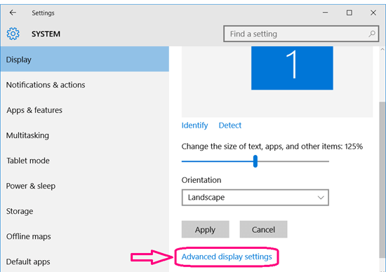 click on dvanced display settings