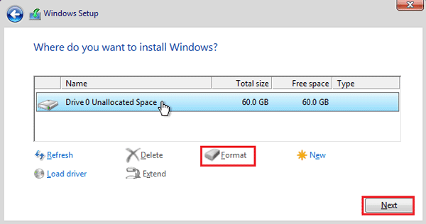 select where to install windows 10